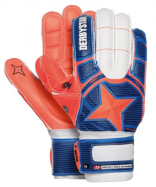 Derbystar Fussball Torwarthandschuhe Protect Basic Ar Advance Kinder Blau Orange 5