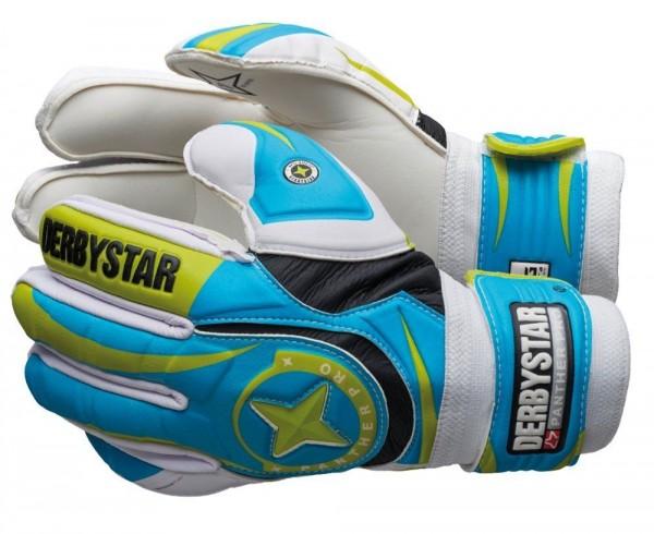 Derbystar Fußball Torwarthandschuh Panther Pro Trainingshandschuh blau grün weiß