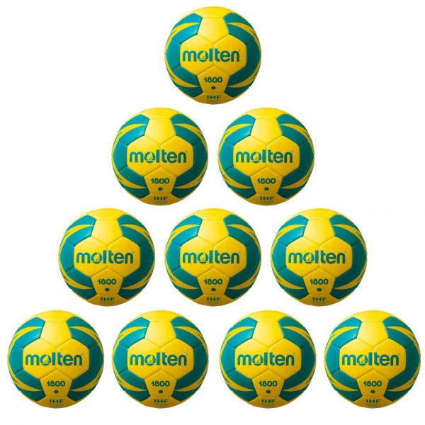 Molten Handball H2X1800-YG IHF Top Trainingsball 10er Paket gelb grün Gr 2