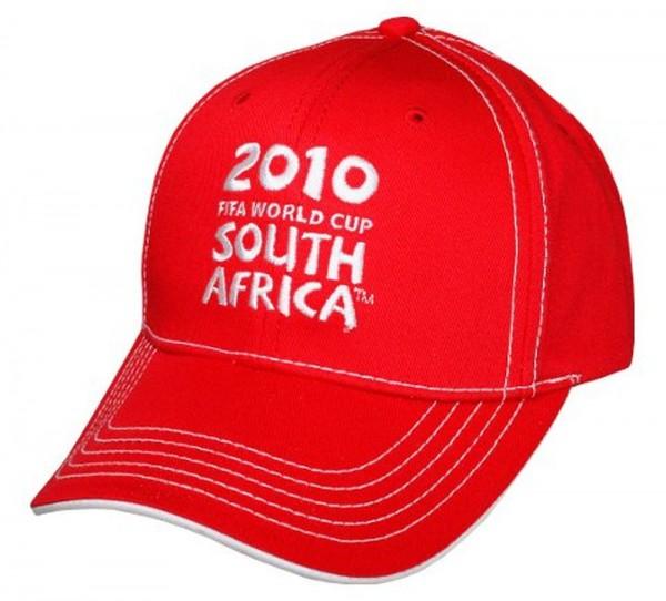 Fußball Fankappe WM 2010 Südafrika Cap Logo Schrift rot
