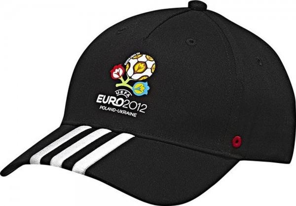 Adidas Fußball EURO 2012 Fan Kappe 3S Fan Cap schwarz weiß
