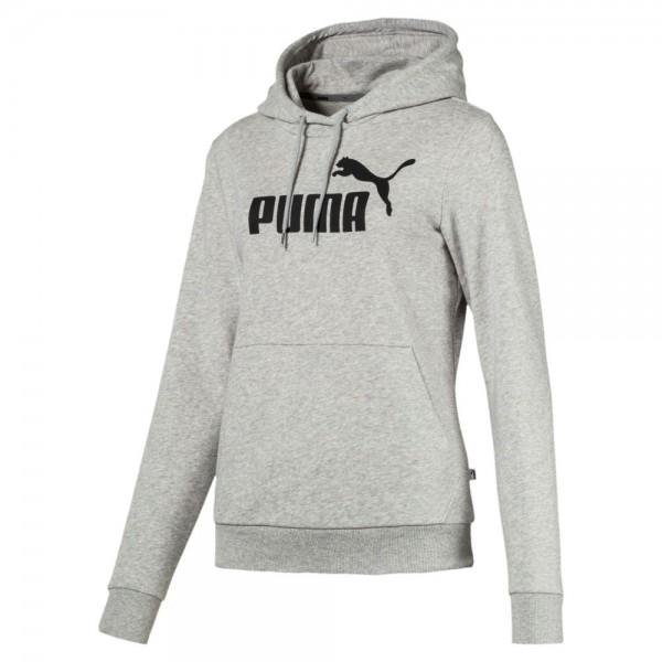 Puma Training Essentials Logo Hoodie Kapuzenpullover Damen grau schwarz
