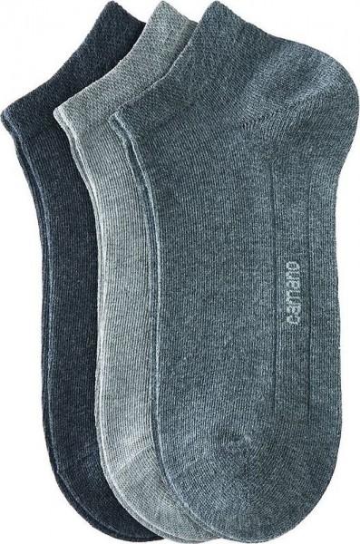 Camano Sneaker Socken 3 Paar Erwachsene grau