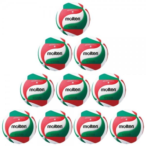 Molten V5M2200 Volleyball Trainingsball weiß grün rot Gr 5 10er Paket
