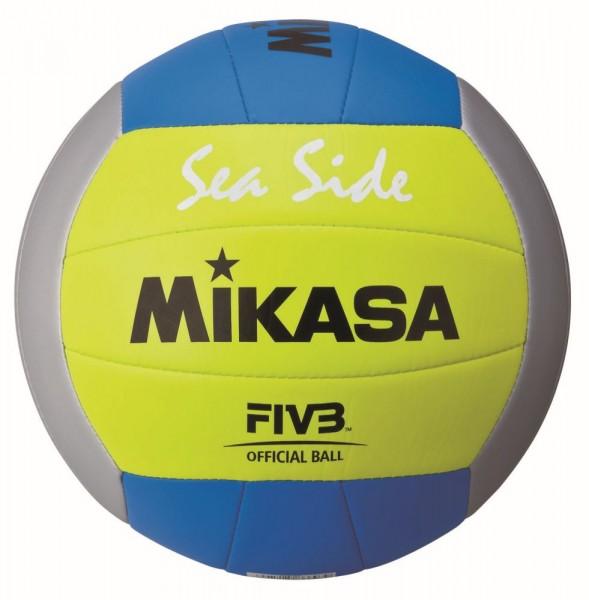 Mikasa Volleyball Sea Side Beachvolleyball Gr 5 grau gelb blau