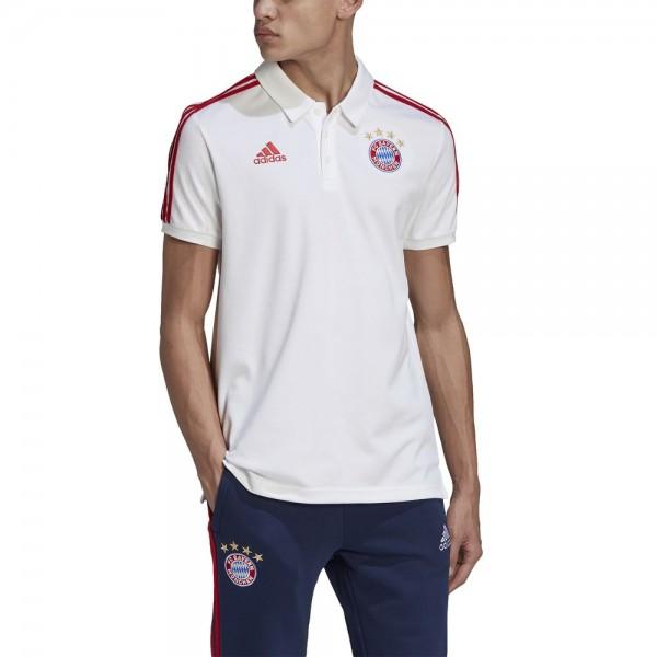 Adidas FC Bayern München 3-Streifen Poloshirt Herren weiß