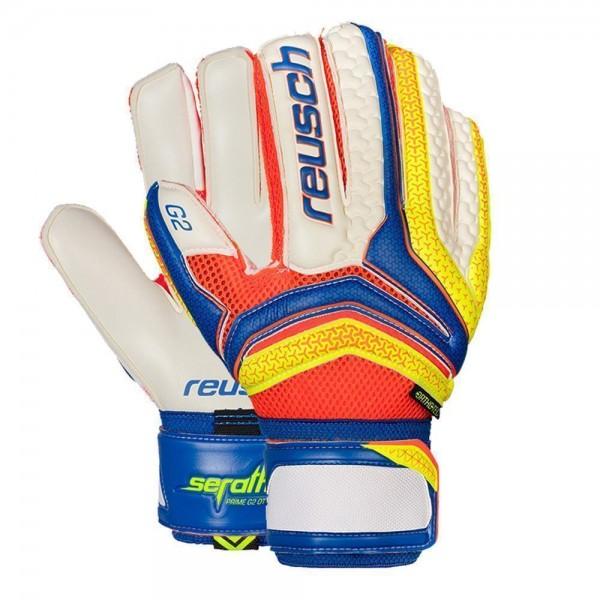 Reusch Fußball Torwart Handschuhe Serathor Prime G2 Orthotec Herren weiß blau