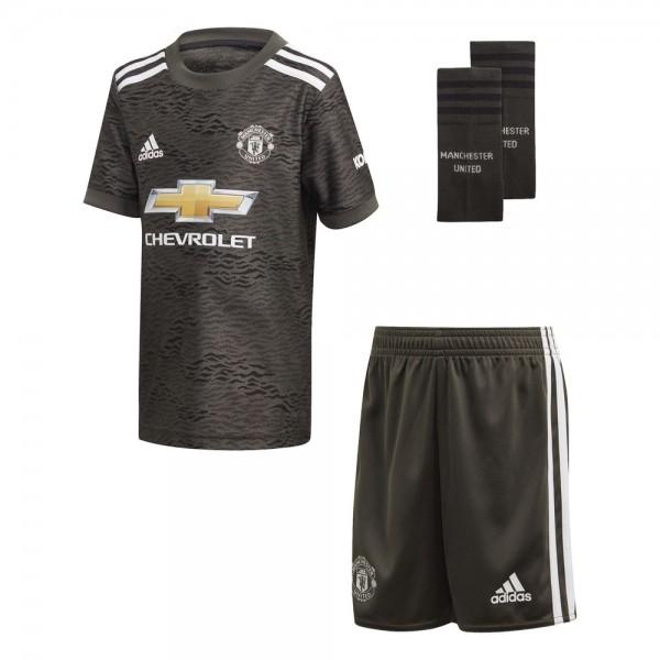 Adidas Manchester United Away Mini Kit 2020 2021 Kinder dunkelgrün