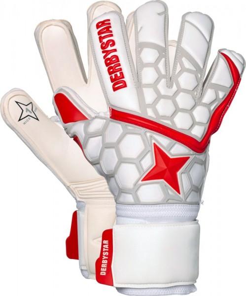 Derbystar Fußball Torwarthandschuh APS White Red Star II Herren weiß rot silber