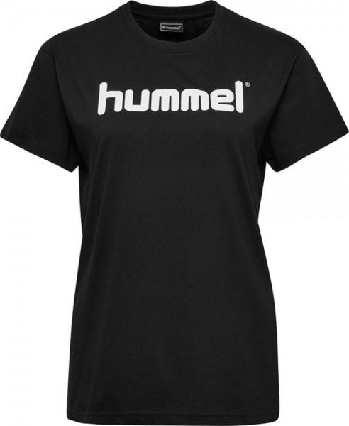 Hummel Baumwolle Logo T-Shirt Damen schwarz