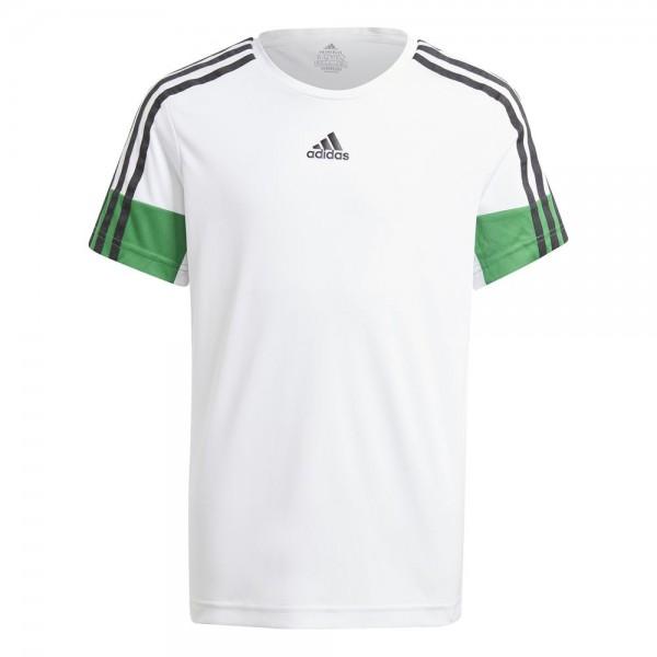 Adidas 3-Streifen AEROREADY Primeblue T-Shirt Kinder weiß schwarz