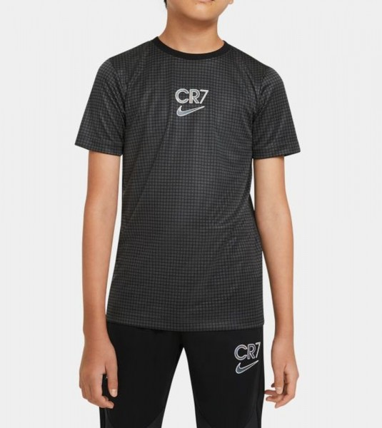 Nike Kinder Dri-FIT CR7 Kurzarm-Fußballoberteil grau schwarz