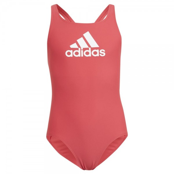 Adidas Badge of Sport Badeanzug Mädchen rot weiß