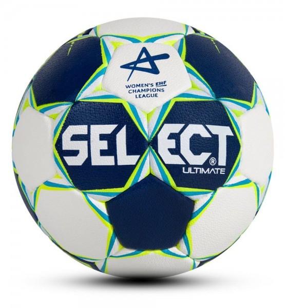 Select Ultimate CL Handball Top Matchball Frauen Handgenäht blau weiß gelb Gr 2