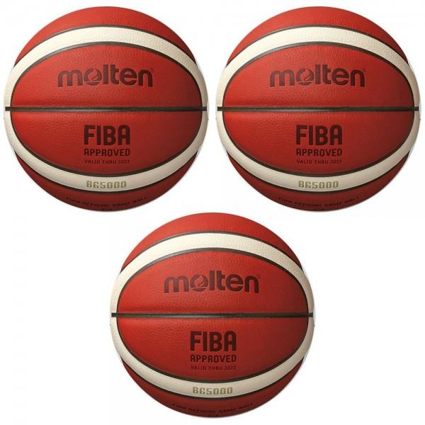 Molten Basketball B6G5000 FIBA Wettspielball Matchball orange Gr 6 3er Paket