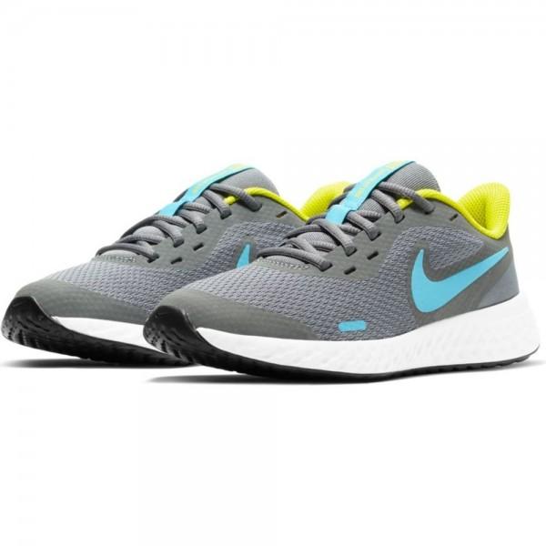 Nike Revolution 5 Laufschuhe Kinder grau blau gelb