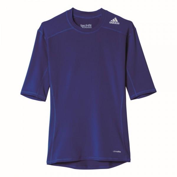 Adidas Fußball Techfit Base Unterziehshirt Herren Kurzarm Trainingsshirt dunkelblau