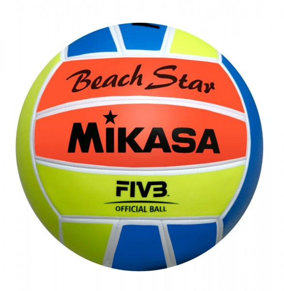 Mikasa Volleyball Beach Star Beachvolleyball Gr 5 rot gelb blau