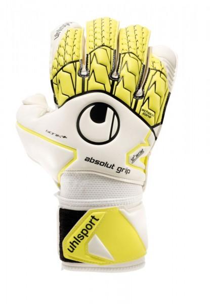 Uhlsport Fußball Absolutgrip Bionik+ Torwarthandschuhe Herren weiß fluo gelb
