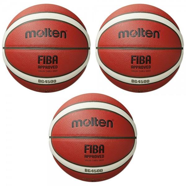 Molten Basketball B7G4500 FIBA Wettspielball Matchball orange Gr 7 3er Paket