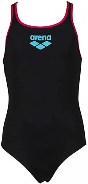 Arena Mädchen Big Logo Badeanzug schwarz pink