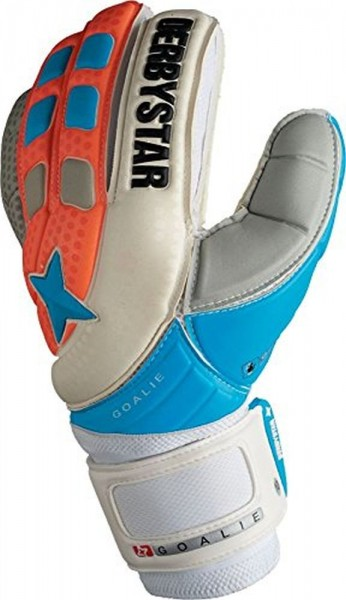 Derbystar Fussball Goalie Torwarthandschuhe weiß blau orange Größe 12