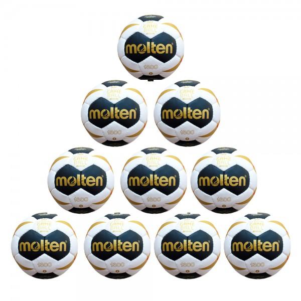 Molten Handball H0X1300-W7G Trainingsball 10er Paket weiß schwarz gold Größe 0