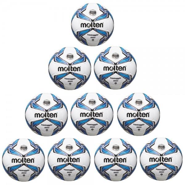 Molten Fußball F5V3335 Leichtball 10er Paket weiß blau silber Größe 5