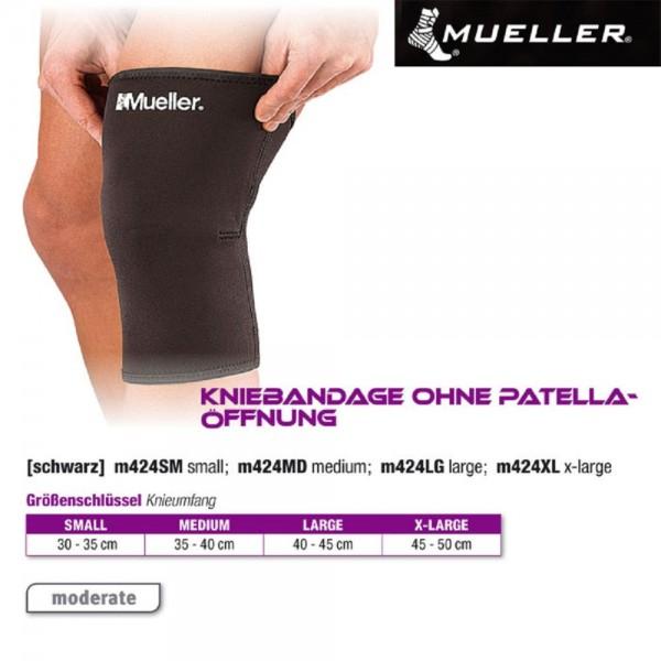 MUELLER Kniebandage ohne Patellaöffnung schwarz