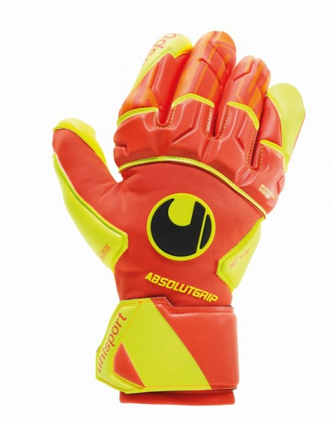 Uhlsport Fußball Dynamic Impulse Absolutgrip Reflex Torwart Handschuhe Herren orange gelb