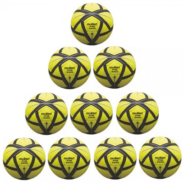 Molten Fußball F5G3300 Hallenfußball 10er Paket gelb schwarz silber Größe 5