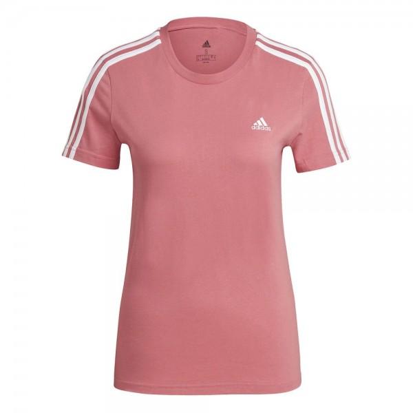 Adidas Loungewear Essentials Slim 3-Streifen T-Shirt Damen pink weiß