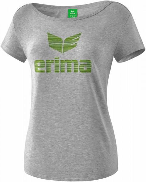 Erima Training Essential T-Shirt Kurzarm Trainingsshirt Damen hellgrau melange lime