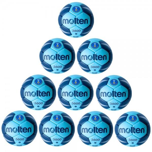 Molten Handball H1X3800-CN IHF Spielball Wettspielball 10er Paket cyan blau Gr 1