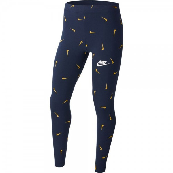 Nike Sportswear Leggings mit Print Kinder dunkelblau gold weiß