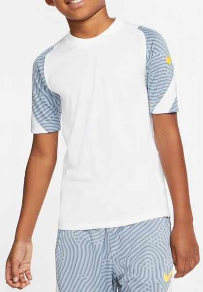 Nike Breathe Strike Kurzarm Fußball Trikot Kinder weiß blau