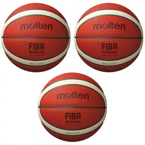 Molten Basketball B7G5000 FIBA Wettspielball Matchball orange Gr 7 3er Paket