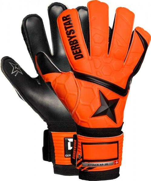 Derbystar Fußball Torwarthandschuh Attack XP16 Herren Kinder orange schwarz