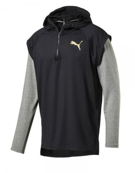 Puma Active Training Herren Tech Fleece 1/4 Zip Hoodie Longsleeve Sweatshirt schwarz grau